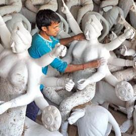india durga festival artist paper-clay
