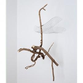 'un-made structure : empty net'       found branch, wire mesh   65 x 60 x 45 cm